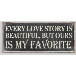 Emaljeskilt med tekst. Every lovestory...