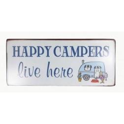 Emaljeskilt med tekst. Happy campers live here.