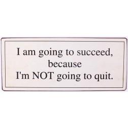 Emaljeskilt med tekst. I am going to succeed because...