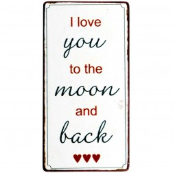 Magnet med tekst.  I love you to the moon