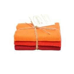 Strikkede karklude fra Solwang. Orange