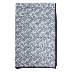 Quilt. beige m/blå blomster.