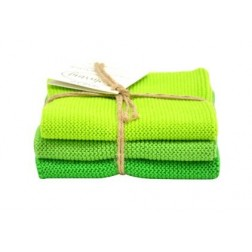 Strikkede karklude fra Solwang. Klar grøn