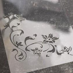 Skabelon / Stencil. Hjørne m. blomster