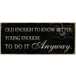 Emaljeskilt med tekst. Old enough to know....